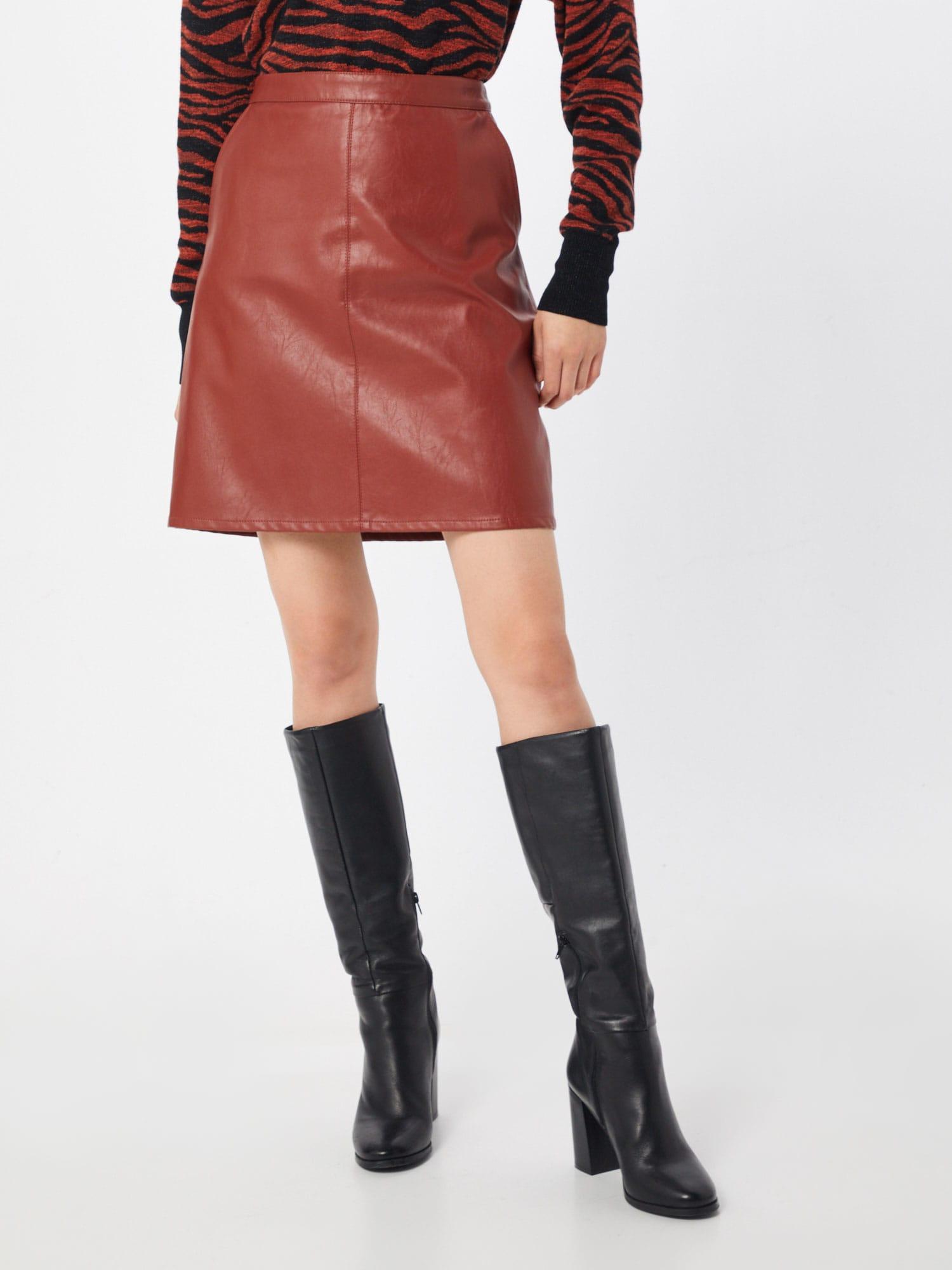 SOAKED IN LUXURY Fustă 'SL Tamara PU Skirt'  burgund