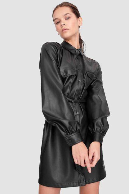 Rochie tip cămașă imitație de piele Stradivarius