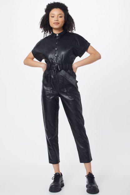 Bardot Salopeta 'PU BELTED PANTSUIT'  negru