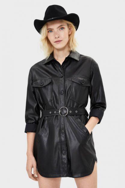Jachetă overshirt din imitație de piele cu curea Bershka
