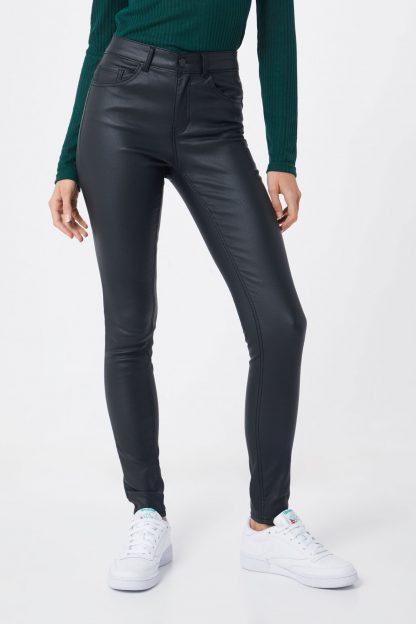 PIECES Pantaloni 'PCFIVE PARO MW COATED PANT/NOOS'  negru