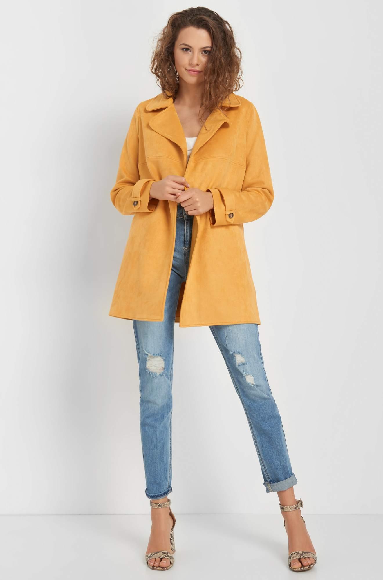 Jachetă lungă din eco-piele