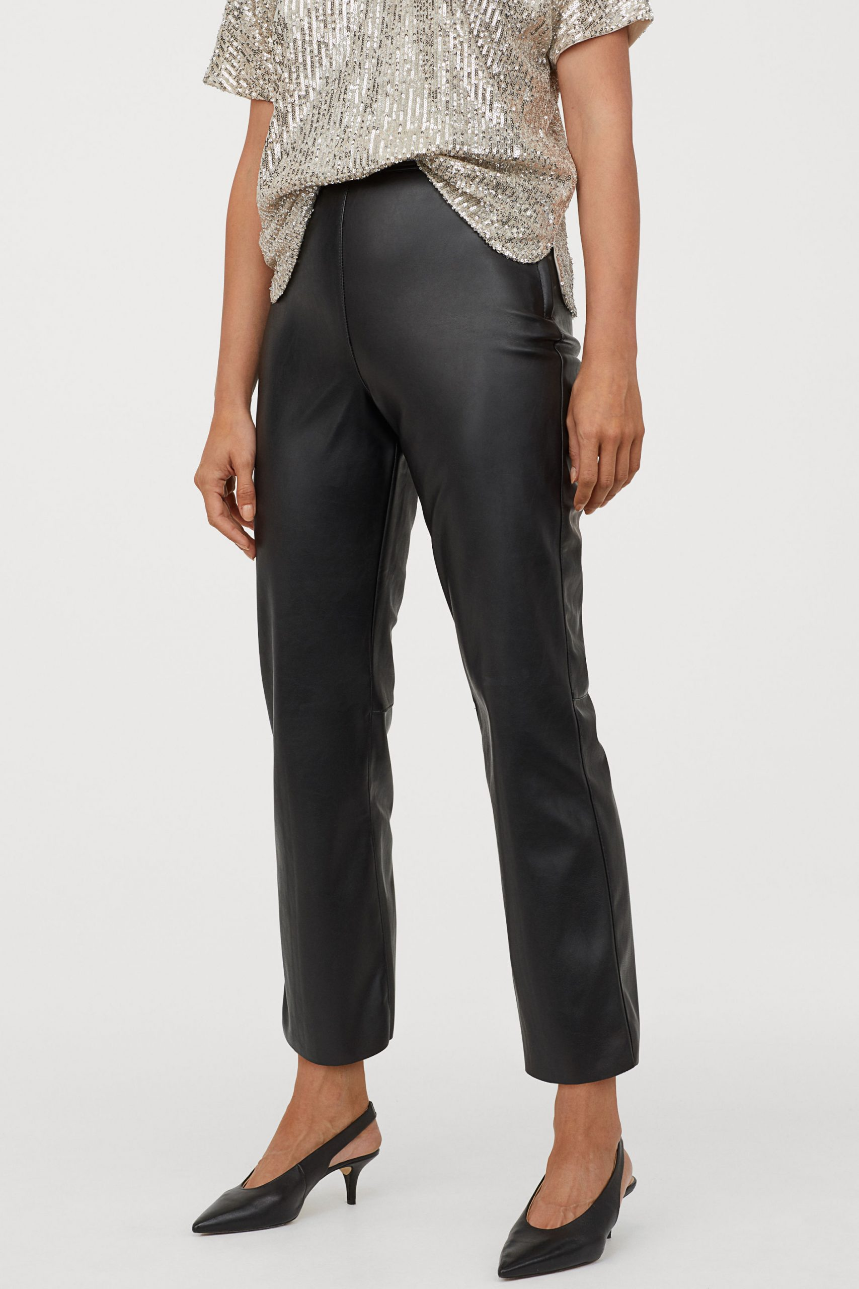 Pantaloni piele H&M - Pantaloni evazați