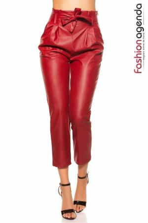 Pantaloni din Piele Esme Bordo