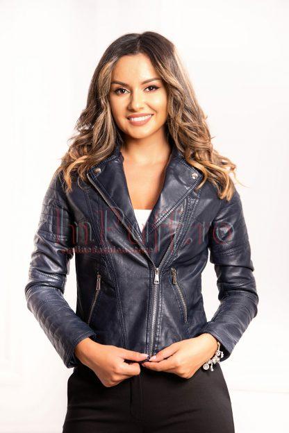 Jacheta bleumarin din piele ecologica