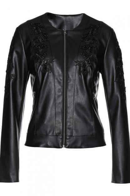 Jachetă premium imitație de piele cu aplicații