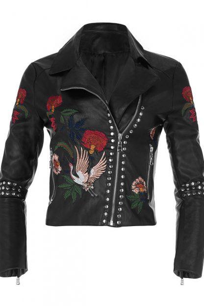 Jachetă stil biker cu aspect de piele