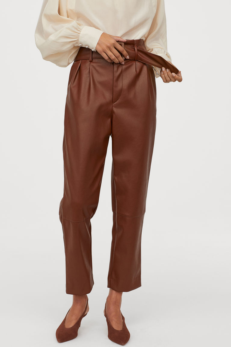 Pantaloni piele H&M - Pantaloni cu cordon