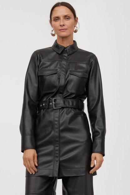 Rochii piele H&M - Rochie-cămașă cu curea