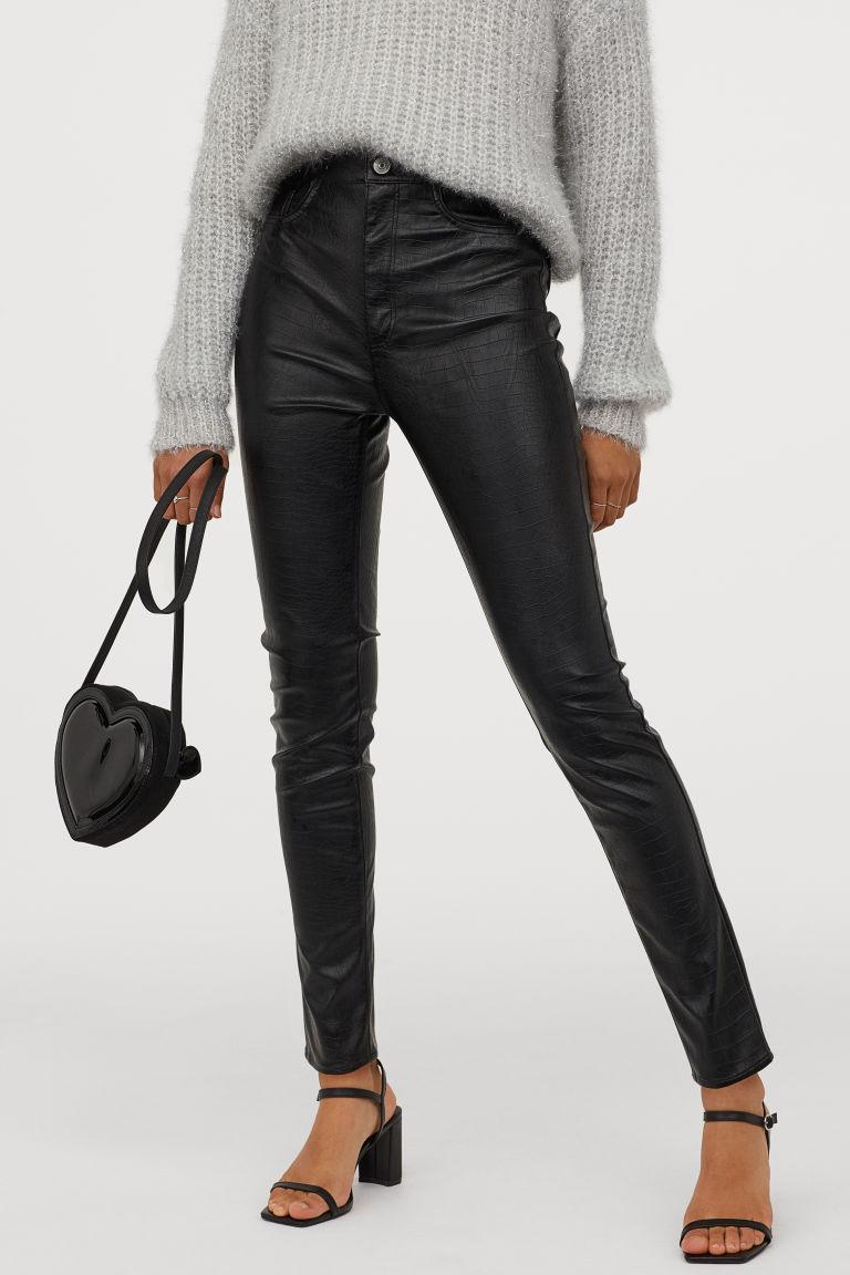 Pantaloni piele H&M - Pantaloni cu talie înaltă
