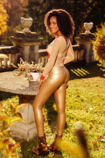 Pantaloni aurii piele ecologica cu puf in interior si cu talie inalta P 816au