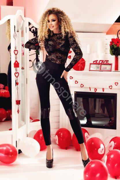 Pantaloni cu talie inalta si piele ecologica P 844