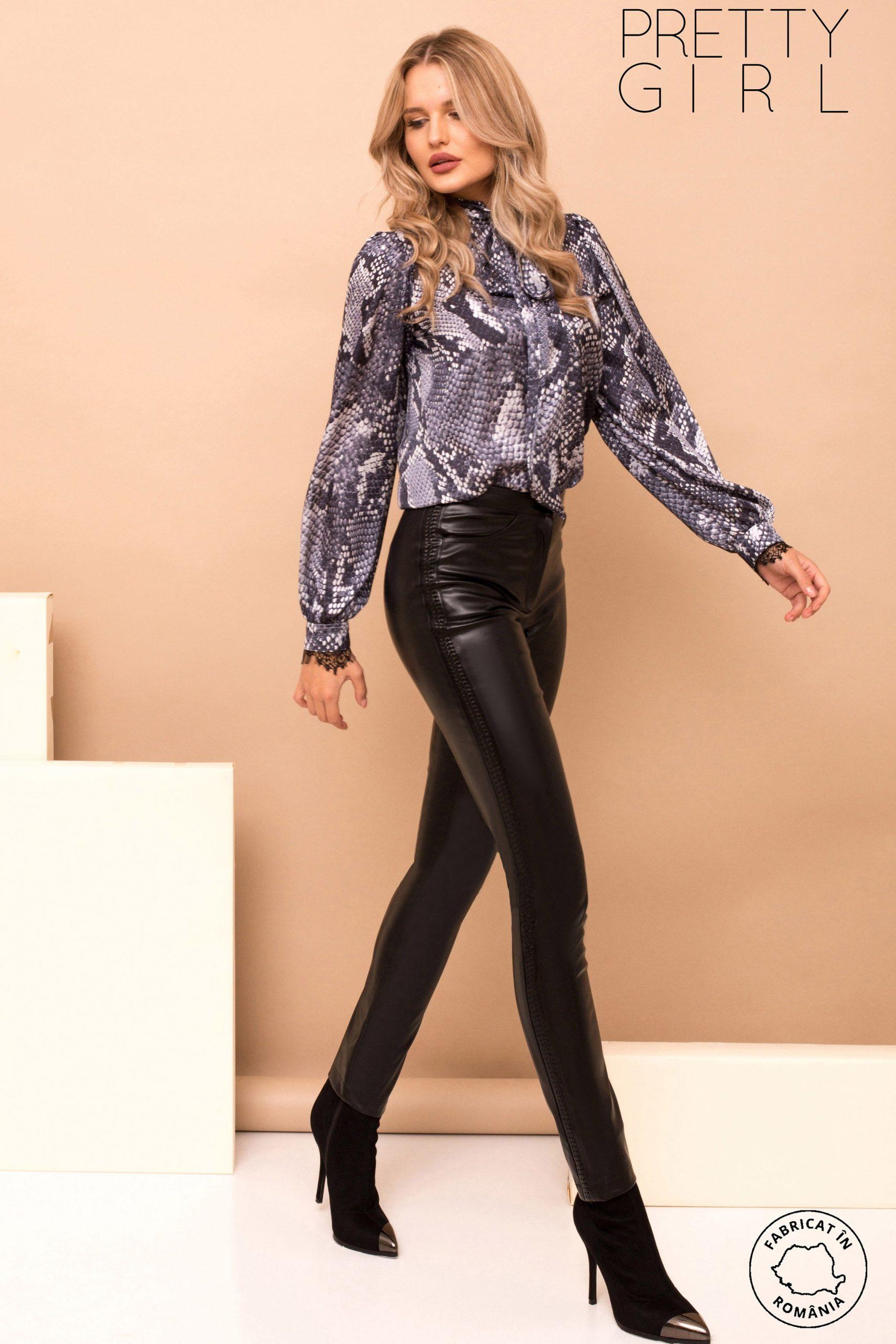 Pantaloni dama Pretty Girl negri din piele ecologica cu banda laterala