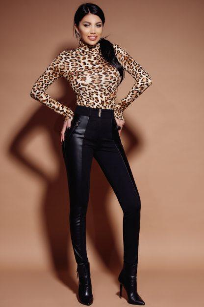Pantaloni jerse cu piele ecologica lateral P 937