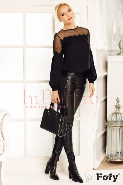 Pantaloni negri Fofy din piele ecologica cu aplicatii in lateral