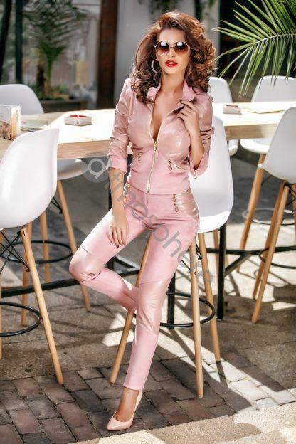 Pantaloni roz din piele intoarsa si piele ecologica P 672