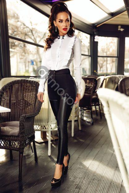 Pantaloni talie inalta cu piele ecologica P 838