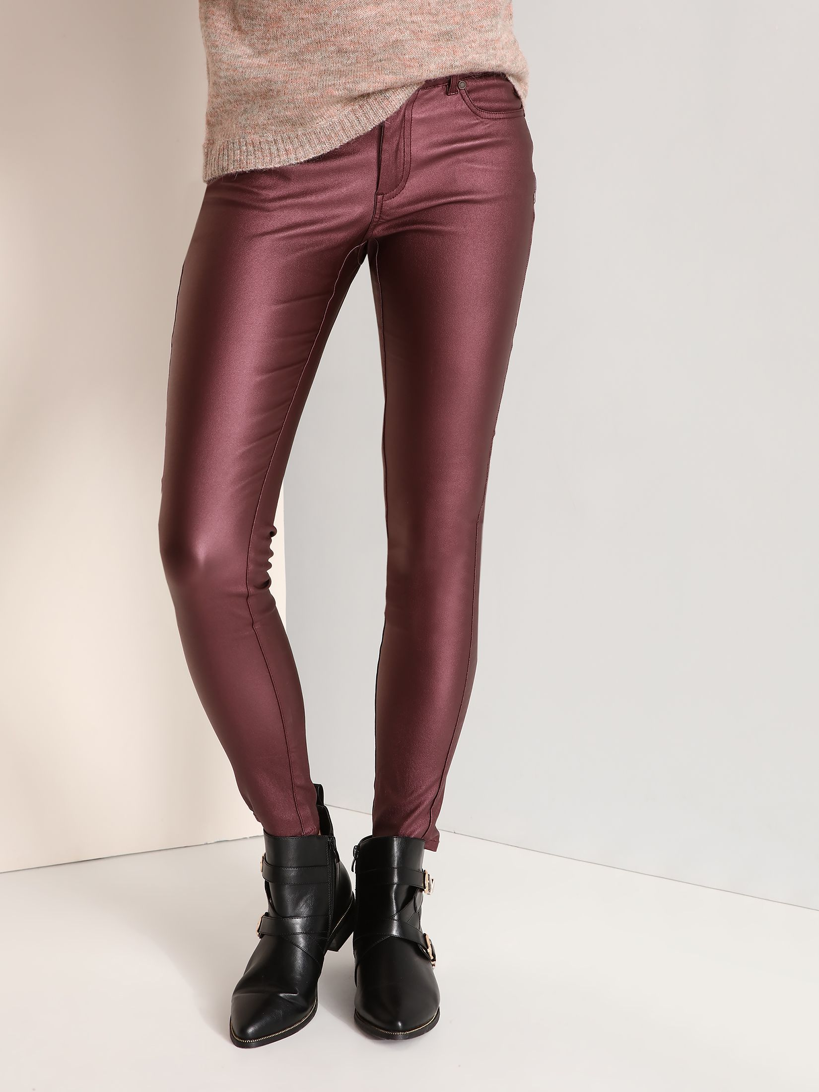 Pantaloni Top Secret mov casual conici cu talie joasa material din piele ecologica