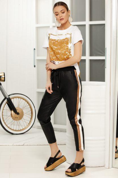 Pantaloni negri casual lunga cu talie medie din piele ecologica cu elastic in talie