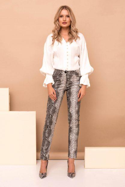Pantaloni PrettyGirl gri casual cu talie inalta cu un croi mulat din piele ecologica snake print