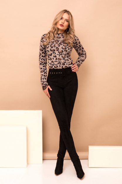 Pantaloni PrettyGirl negri eleganti lungi conici din imitatie de piele cu accesoriu tip curea