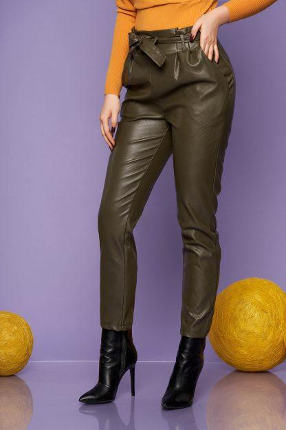 Pantaloni SunShine verzi casual conici din piele ecologica cu talie inalta cu buzunare accesorizati cu cordon