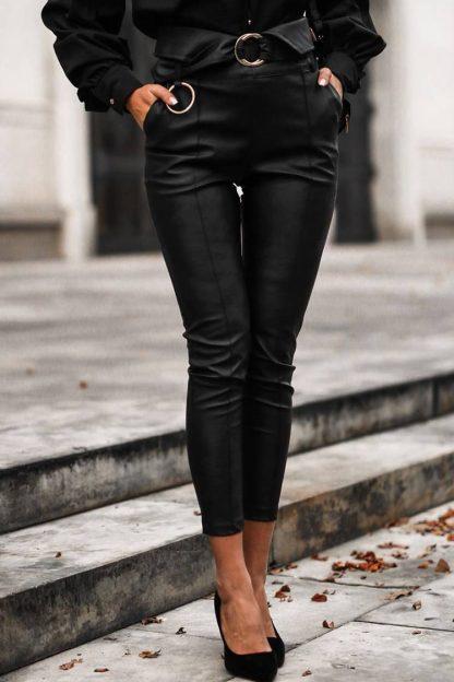 Pantaloni imitatie piele MIRZO BLACK